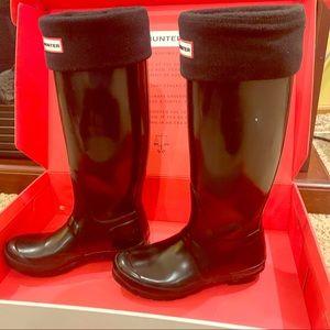 Hunter Black Original Tall Gloss Boots